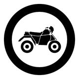 ATV motorcycle on four wheels black icon in circle vector illustration. Isolated Stock Images