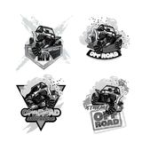 ATV Off-Road Buggy, Black and White Logo. EPS 10 Vector graphics. Layered and editable stock illustration