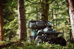 ATV parqueados en el estacionamiento en el buen tiempo del bosque Foto de archivo libre de regalías