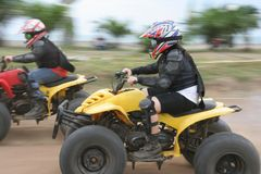 Atv or quad bike racing royalty free stock photos