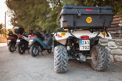 ATV quad bike and scooters on parking Stock Photo