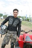 Atv or quad bike vehicle racer stock photo