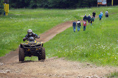 ATV Quad Racing 2. Photo of an atv racing cross country Royalty Free Stock Images