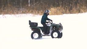 ATV race in the winter season. stock video footage