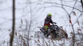 ATV race in the winter season. stock video