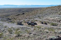 ATV riders in the desert royalty free stock photos