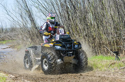 ATV rides through the mud with a big splash Stock Photo