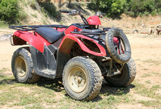 Atv rouge de vélo de quadruple Photos libres de droits