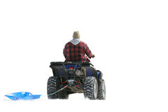 ATV on snow pulling sled. ATV pulling a plastic sled through the snow. focus on driver, blown out snow for white background Royalty Free Stock Photography