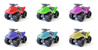 Atv toys. Six colored ATV toys maid out of plastic Royalty Free Stock Photo