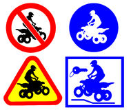 ATV traffic signs sites stock image
