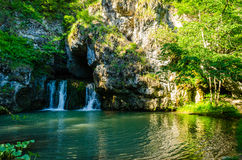 Atysh waterfall on the river Lemeza. Southern Urals. Royalty Free Stock Photo