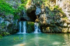 Atysh waterfall on the river Lemeza. Southern Urals Stock Photos