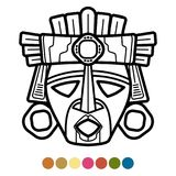 Atzec de coloration, Africain, masque mexicain illustration stock