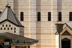 Außenansicht der Kirche der Ankündigung in Nazaret stockfotografie