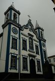 Außenansicht zur Kirche des heiligen Christus, Praia DA Vitoria, terceira, Portugal lizenzfreies stockbild