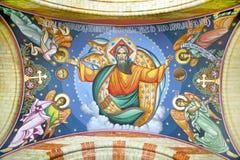 Außenfresko auf Kathedrale von Sibiu Stockbild