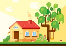 Außenhintergrundstandort in den warmen Sommertönen, der ein Haus, einen Baum, blühende Büsche, ein Rasen mit roten Pilzen umf lizenzfreie abbildung