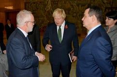 Außenminister Boris Johnson Briten im offiziellen Besuch nach Serbien Lizenzfreie Stockfotos