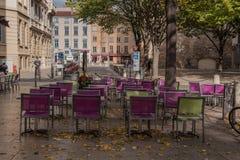 Außenseite, die in Lyon speist Stockfoto