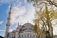 Außentag des niedrigen Winkels schoss von den Hauben von Sultan Ahmed Mosque Blue Mosque, Istanbul, die Türkei Stockfotografie