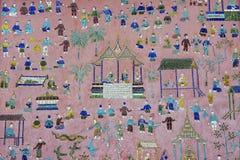 Außenwand mit schönem Mosaik des Pavillons am Xieng-Zapfentempel in Luang Prabang, Laos Lizenzfreie Stockbilder