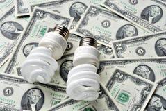 Außer Geld durch die Anwendung der Glühlampen der Energieeinsparungen Lizenzfreie Stockfotos
