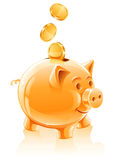 Außer Geldkonzept mit piggy Querneigung Stockbilder
