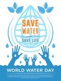 Außer Wasser Aquaflüssigkeit lässt Gesundheitswesenplakatvektor-Konzeptbild für Wassertag fallen stock abbildung