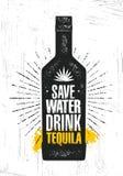 Außer Wasser Getränk Tequila Handwerks-lokaler Agaven-Alkohol-Handwerker-kreatives Vektor-Zeichen-Konzept Raue handgemachte Fahne stock abbildung