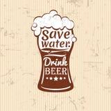Außer Wasser Getränkbier-Vektorillustration Beschriftungszusammensetzung Lizenzfreies Stockfoto