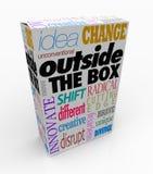 Außerhalb der Kasten-Wörter auf Produkt-Paket-Innovation Stockfoto
