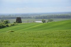 Außerhalb der Stadt - ländliche Landschaft - eine alte Windmühle auf dem Feld Stockbild