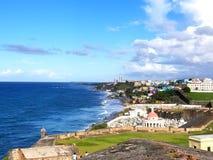 Außerhalb der Wände von Schloss Fort-Sans Felipe del Morrow overlook stockfotografie
