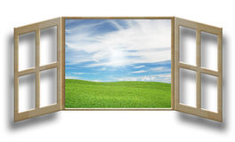 Außerhalb des Fensters stock abbildung