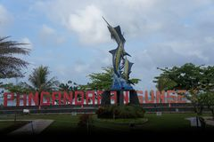Au centre de la ville, symbole établi sous forme d'espadon sur le secteur, Indonésie Photo libre de droits