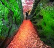 Au commencement, l'itinéraire les roches Dovbush Image libre de droits