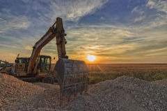 Au coucher du soleil Photos stock