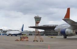 Au ` de Ryumka de ` de pavillon d'atterrissage un jour nuageux Sheremetyevo Photos libres de droits