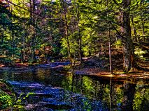 Au-dessous de la cascade tombe dans Saco, Maine Image libre de droits