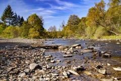 Au-dessus d'une rivière de montagne un matin d'automne photo libre de droits
