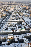 Au-dessus de Cracovie neigée Images libres de droits