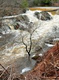 Au-dessus de l'écoulement la rivière de Saco crée l'inondation instantanée Photographie stock