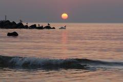 au-dessus de l'eau de coucher du soleil image libre de droits