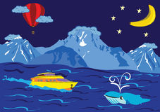 au-dessus de l'océan de ballon Photographie stock libre de droits