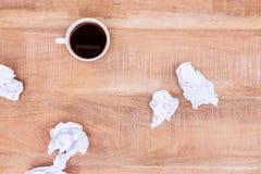 Au-dessus de la vue de la boule de café et de papier Image libre de droits