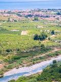 Au-dessus de la vue de la rivière Alcantara et Recanati Photo stock