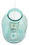 Au-dessus de la vue du derniers dollar et hameçon dans le pot en verre Photographie stock libre de droits