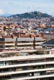 Au-dessus de la vue sur la ville vivante de Barcelone de zone Photo libre de droits