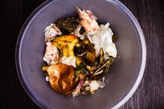 Au-dessus des déchets de nourriture dans la poubelle Concept des restes malsains de nourriture industrielle Concept avec la nourr images stock